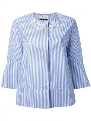 Полосатая рубашка без воротника Muveil. Цвет: синий