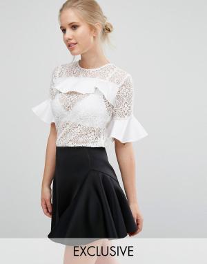 Closet London Кружевная блузка с атласными оборками - Белый 5419021