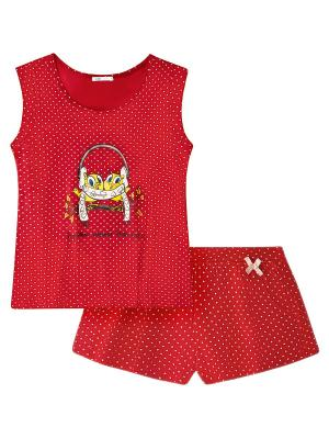 Пижама Oodji. Цвет: красный, розовый