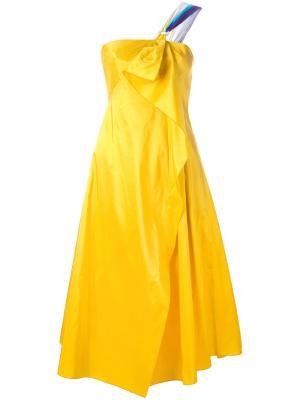Платье корсетного кроя с драпировкой Peter Pilotto. Цвет: жёлтый и оранжевый