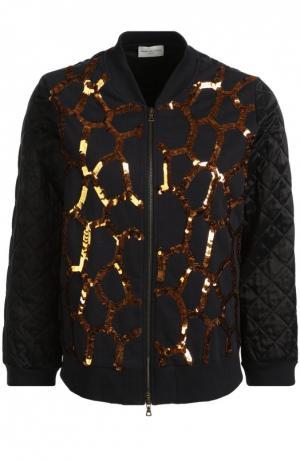 Стеганая куртка с укороченным рукавом и пайетками Dries Van Noten. Цвет: темно-синий