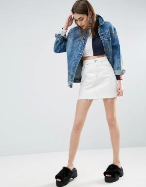 ASOS Бежевая джинсовая юбка с завышенной талией и контрастной строчкой. Цвет: черный