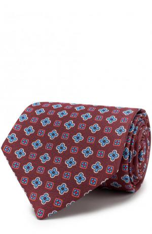 Шелковый галстук с узором Kiton. Цвет: коричневый