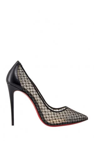 Туфли с кружевом Follies Lace 100 Christian Louboutin. Цвет: черный