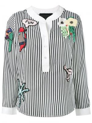 Полосатая декорированная блузка Michaela Buerger. Цвет: чёрный