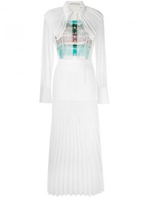 Длинное платье с плиссировкой Marco De Vincenzo. Цвет: белый