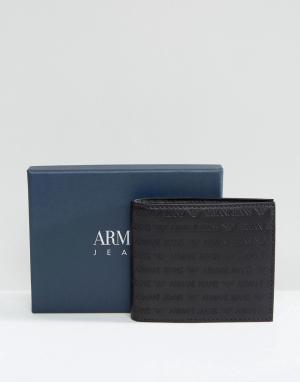 Armani Jeans Черный бумажник из зернистой кожи. Цвет: черный