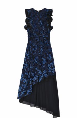 Приталенное платье асимметричного кроя self-portrait. Цвет: темно-cиний