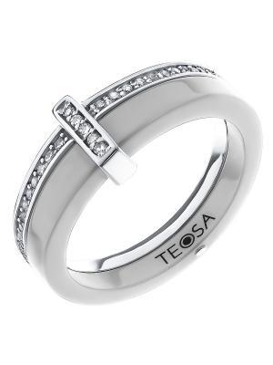 Кольцо Teosa. Цвет: белый, серебристый