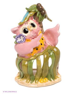 Подсвечник Розовая сова Blue Sky. Цвет: розовый, зеленый, бежевый
