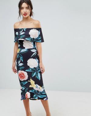True Violet Платье миди с оборкой на подоле и цветочным принтом. Цвет: черный