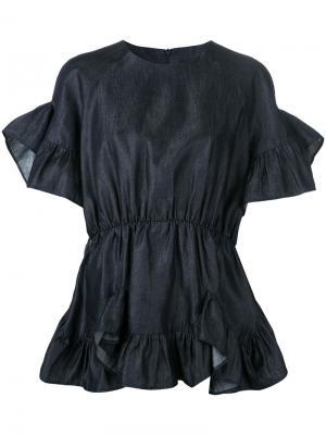 Джинсовая блузка с оборками Goen.J. Цвет: синий