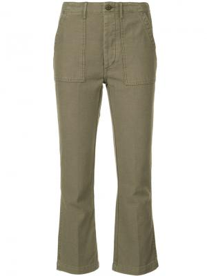 Укороченные брюки карго R13. Цвет: зелёный