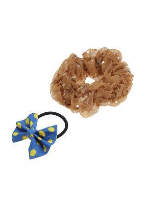 Комплект резинок для волос Gusachi. Цвет: коричневый, желтый, черный, синий