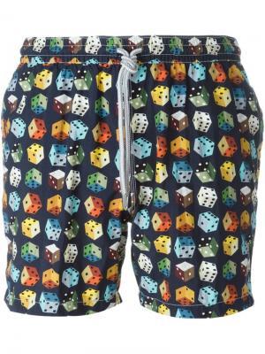 Плавательные шорты с принтом игральных костей Capricode. Цвет: синий