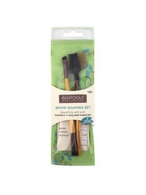 Набор для формирования бровей Brow Shaping Set Ecotools. Цвет: белый, темно-коричневый, светло-коричневый