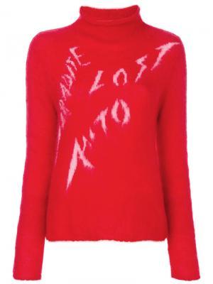 Джемпер с графическим принтом и отворотом Aalto. Цвет: красный