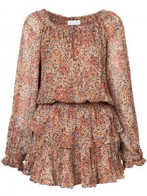 Платье Printed Popover Love Shack Fancy. Цвет: жёлтый и оранжевый