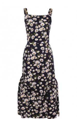 Хлопковое платье-миди с цветочным принтом Mother Of Pearl. Цвет: темно-синий