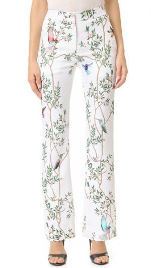 Прямые брюки Monique Lhuillier. Цвет: шелковисто-белый мульти