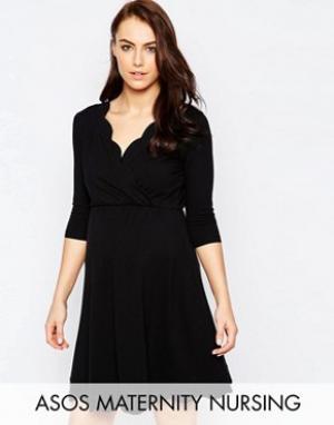 ASOS Maternity - Nursing Короткое приталенное платье для беременных TALL. Цвет: черный