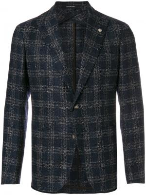 Пиджак в клетку с накладными карманами Tagliatore. Цвет: синий