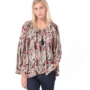 Блузка с длинными рукавами и  оригинальным рисунком AMANDINE AN'GE. Цвет: рисунок экрю/черный