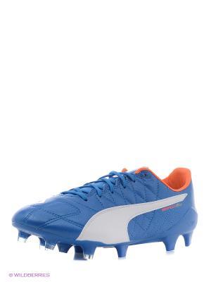 Бутсы evoSPEED SL Lth FG Puma. Цвет: голубой