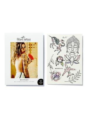 Переводные тату Miami Tattoos Mystery by Nora Ink  1 лист 29,7см*21см. Цвет: морская волна, розовый, светло-серый, сиреневый, черный