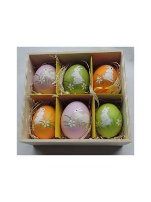 Декоративное подвесное пасхальное яйцо КРОЛИКИ Magic Home. Цвет: темно-зеленый, розовый