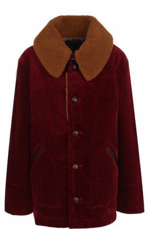 Укороченное вельветовое пальто с отложным воротником Marc Jacobs. Цвет: бордовый