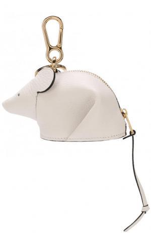 Кожаный брелок Mouse Loewe. Цвет: белый