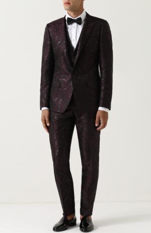 Смокинг-тройка с вышивкой Dolce & Gabbana. Цвет: бордовый