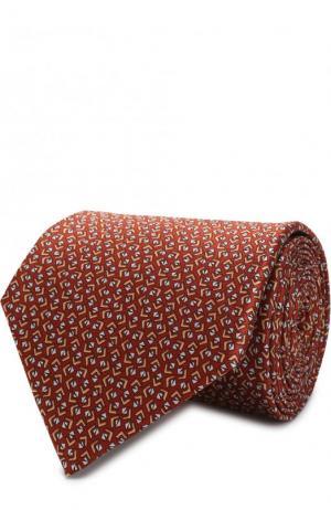 Шелковый галстук с узором Lanvin. Цвет: оранжевый