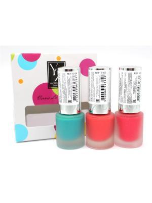 Набор матовых лаков для ногтей YLLOZURE. Цвет: бирюзовый, малиновый, красный