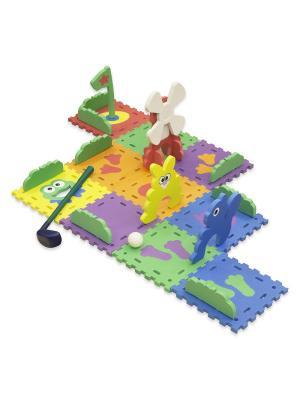 Коврик-пазл игра с клюшкой Гольф Сет 10 (25х25 см) 15мм Funkids. Цвет: голубой, желтый, зеленый