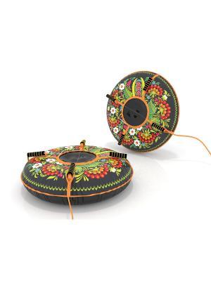 Санки-ватрушка (тюбинг) 90 см Узоры SPORTREST. Цвет: черный, зеленый, оранжевый, белый