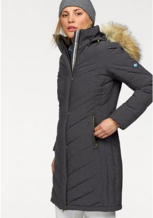 Стеганое пальто POLARINO. Цвет: темно-серый