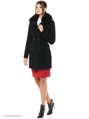 Пальто GallaLady. Цвет: черный