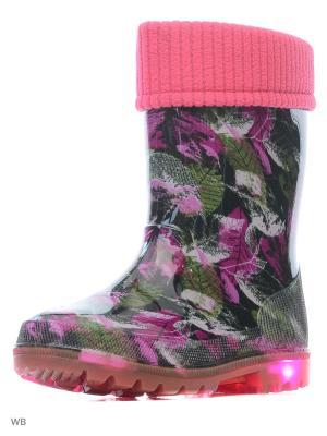 Резиновые сапоги Kapika. Цвет: розовый, черный