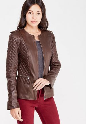 Куртка кожаная Jimmy Sanders. Цвет: коричневый