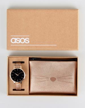 ASOS Подарочный набор с часами и чехлом котом. Цвет: медный