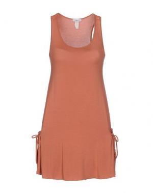 Короткое платье EMAMÒ. Цвет: ржаво-коричневый