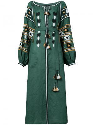 Длинное платье с вышивкой Vita Kin. Цвет: зелёный