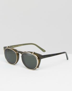 Han Kjobenhavn Солнцезащитные очки с пристегивающимися стеклами Timele. Цвет: зеленый