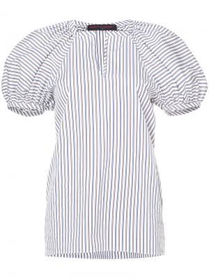 Полосатая блузка с буффами на рукавах Martin Grant. Цвет: белый