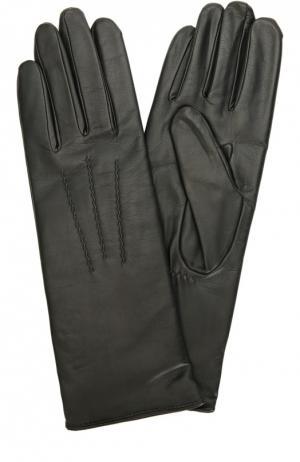 Кожаные перчатки с подкладкой из шерсти Agnelle. Цвет: черный