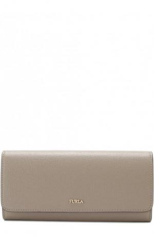 Кожаный кошелек с клапаном и логотипом бренда Furla. Цвет: светло-серый