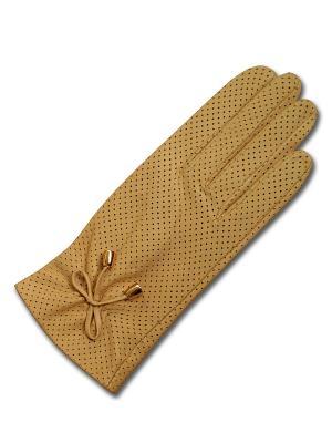 Кожаные перчатки ESMEE. Цвет: бежевый
