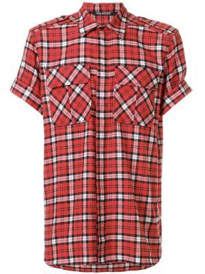 Рубашка в клетку с короткими рукавами Neil Barrett. Цвет: красный